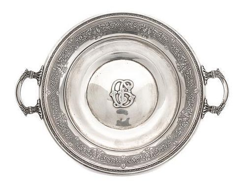 An American Silver Cake Plate, International Silver Co., Meriden, CT, Renaissance pattern, with an applied monogram