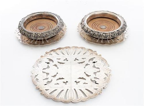 * A Collection of Silver-plate Articles Diameter of coasters 7 1/2 inches