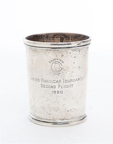 * An American Silver Presentation Beaker Height 3 5/8 inches