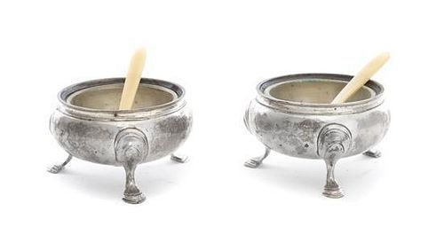 * A Pair of English Silver Salts Diameter 2 7/8 inches