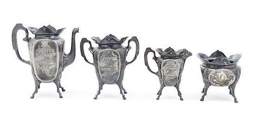 * An American Silver-plate Aesthetic Tea Set, Wilcox Height of tallest 9 1/2 inches