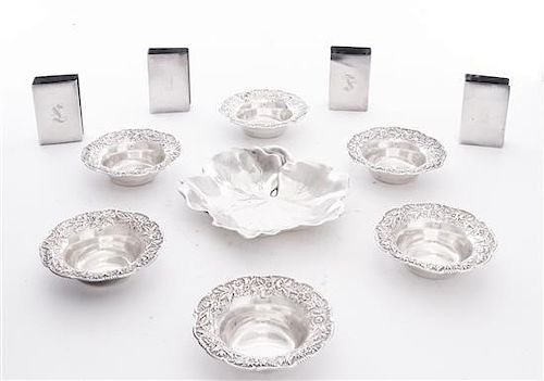 * A Group of American Silver Table Articles, , comprising six nut dishes, S. Kirk & Son, Baltimore, MD, four matchbook safes, an