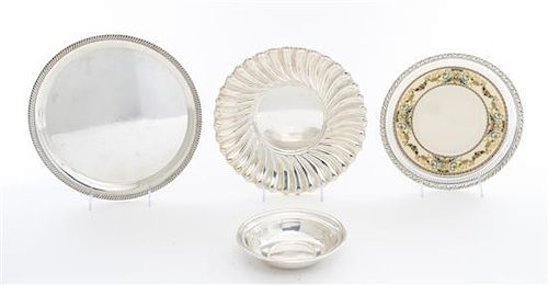 * A Group of American Silver and Silver Mounted Articles, , comprising a dish, a bowl, a porcelain mounted dish, and a silver pl