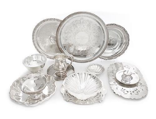 * A Group of Silver-plate Serving Articles, , comprising two trays, seven bowls, two trivets, a cann, and a preserves pot