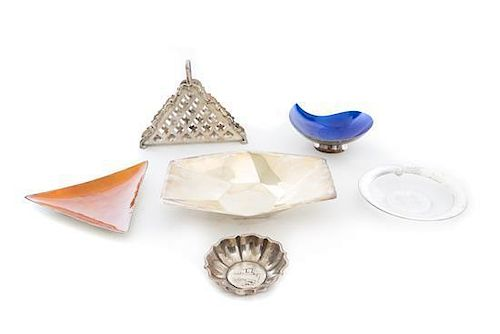 * A Group of Table Articles, 20th Century, comprising a German silver napkin holder, a silver triangular dish with orange enamel