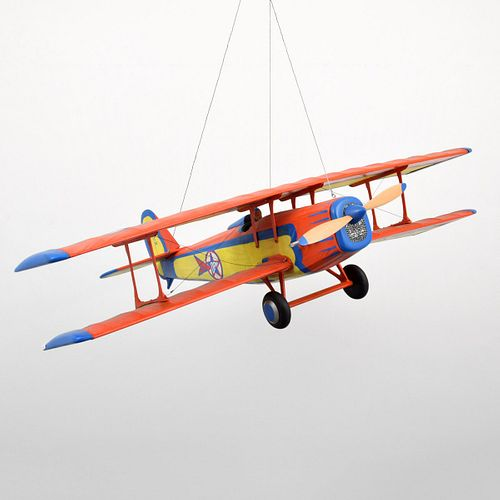 Large Daniel Meyer Hand-Painted Airplane Sculpture