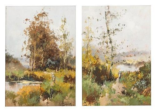 * Artist Unknown, (French, 20th century), Landscapes (two works)