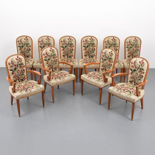 Rare Jules Leleu Dining Chairs, Set of 10