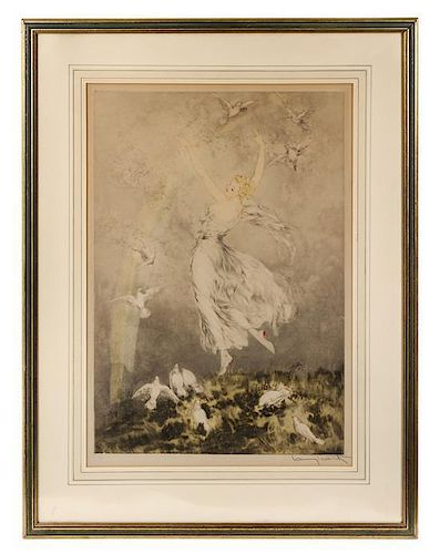 * Louis Icart, (French, 1888-1950), Woman with Doves
