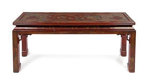 * A Chinese Style Lacquered Altar Table, John Widdicomb Height 26 x width 82 x depth 16 inches.
