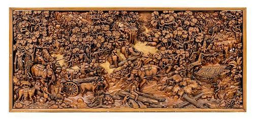 A Chinese Export Carved Relief Panel Height 38 1/4 x 84 1/2 x 3 1/2 inches.