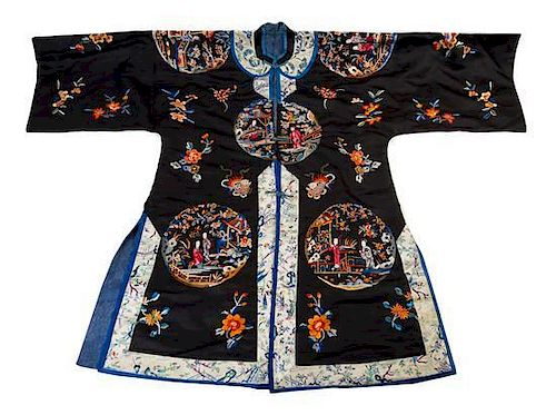 An Embroidered Silk Lady's Informal Robe Length from collar to hem 40 1/4 inches.