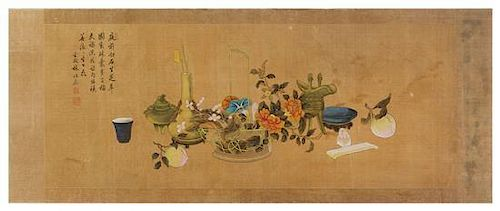 A Chinese Ink and Color Painting on Silk Height 23 7/8 x width 59 7/8 inches.