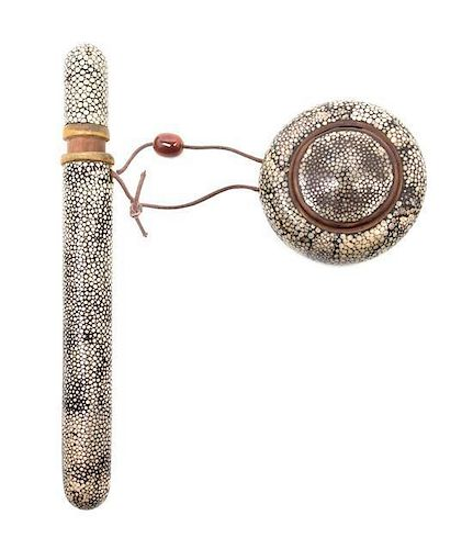 * A Japanese Shagreen Pen Case and Ink Pot Length of pen case 9 1/8 inches.