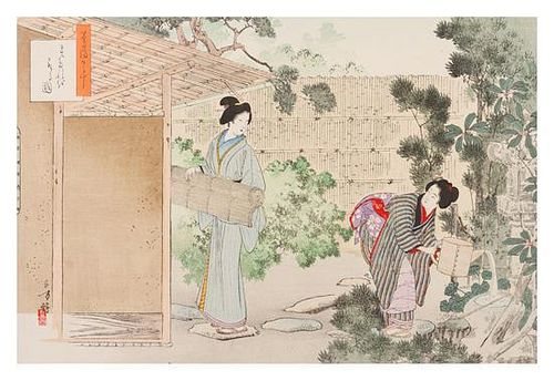 Mizuno Toshikata, (Japanese, 1866-1908), Two Ladies in the Garden
