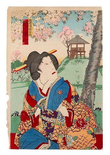 Toyohara Kunichika, (Japanese, 1835-1900), Geisha