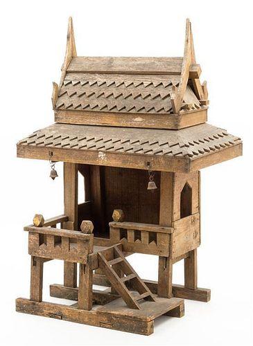 A Thai Wood Spirit House Height 23 1/2 inches.