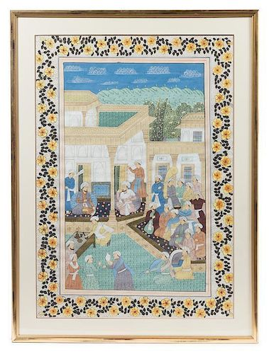 * An Indo-Persian Painting on Paper Height 40 1/2 x width 28 1/4 inches (visible).