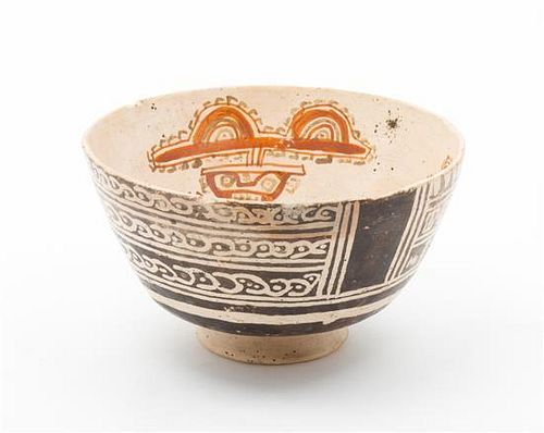 A Pre-Columbian Style Pottery Bowl Diameter 7 1/4 inches.