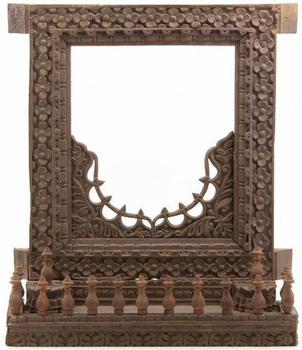 * A Southeast Asian Carved Wood Shrine Frame Height 22 inches.