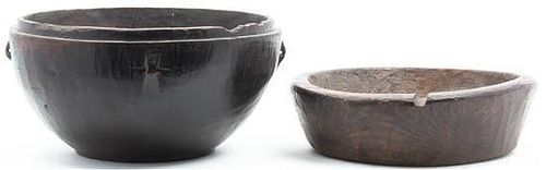 * Two Turned Wood Bowls Diameter of larger 17 1/2 inches.
