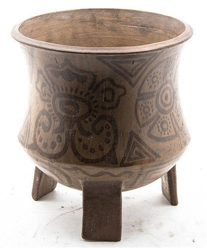 * A South American Tripod Pottery Vessel Height 19 3/4 inches.