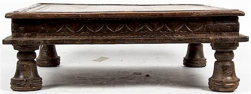 * An African Carved Hard Wood Low Table Width 21 1/4 inches.