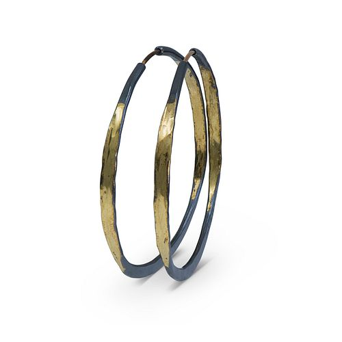 Splash Hoops with Barrel Closure in sterling silver and 14K yellow gold (medium)