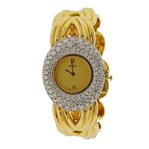 David Webb 18k Gold Platinum Diamond Watch
