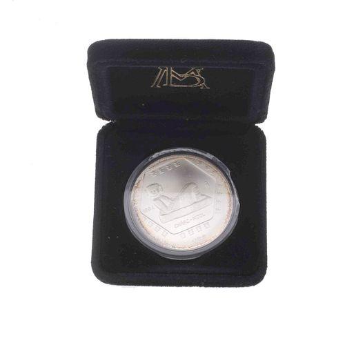 Moneda de plata . 1 onza de plata ley .999. Chac Mool de 5 pesos. Peso: 31.1 g.