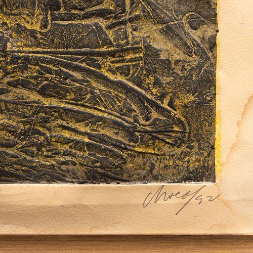 Julio Chico. Sin título. Firmado y fechado 92. , Grabado 8/10. Enmarcado. 92 x 48 cm