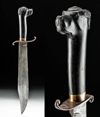 Early 19th C. Mexican Steel Knife w/ Horn Handle of Dog