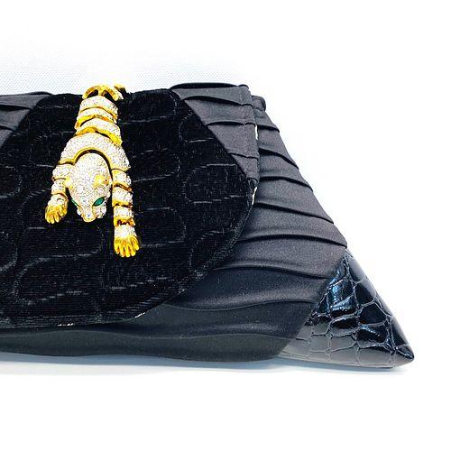 Evening Event Clutch: Vintage Articulated Jaguar on Black