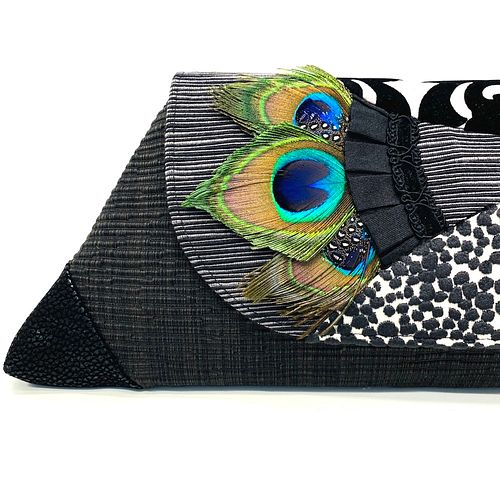 Evening Event Clutch: Black/Silver with Peacock Feather