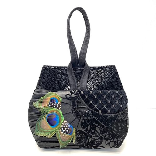 Evening Event Wristlet: Black on Black w Peacock Feather