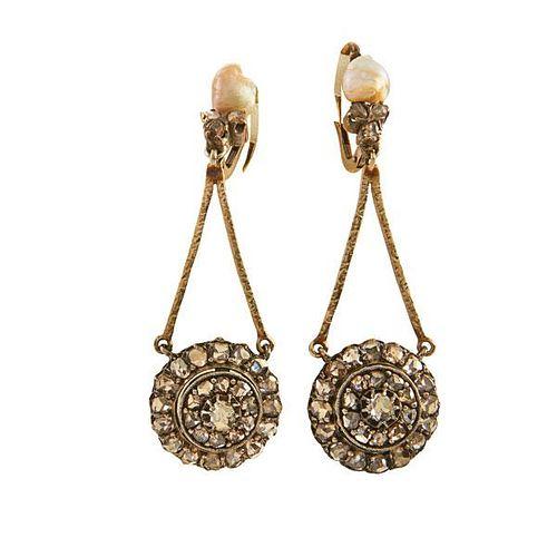 EARLY 20TH C. ROSE CUT DIAMOND & PEARL DROP EARRINGS