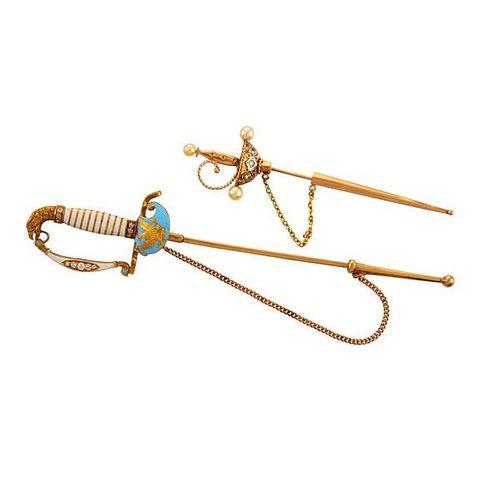 TWO YELLOW GOLD GEM-SET OR ENAMELED SWORD JABOT PINS