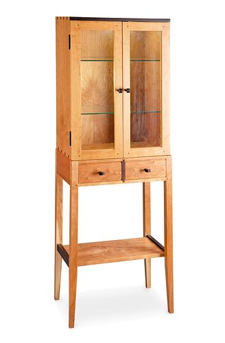 Tall Cherry Display Two-Door Cabinet