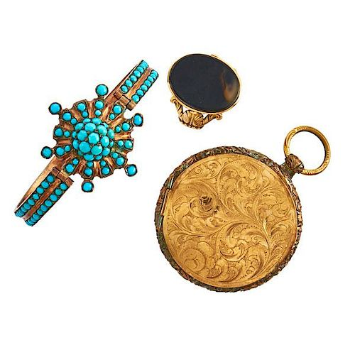 THREE PIECES VICTORIAN GOLD OR GOLD FILLED JEWELRY