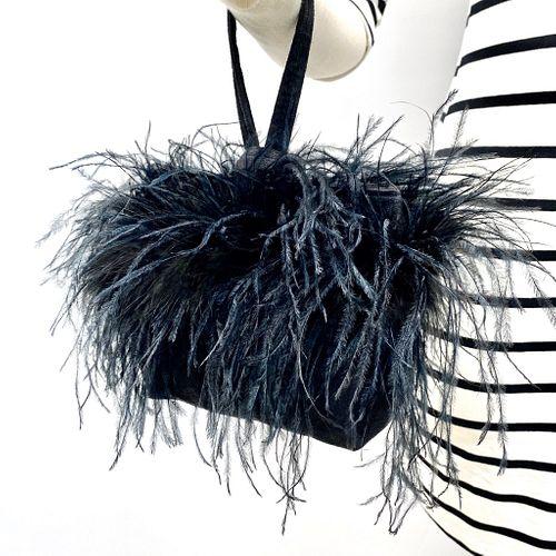 Evening Event Wristlet: Black Ostrich Feather