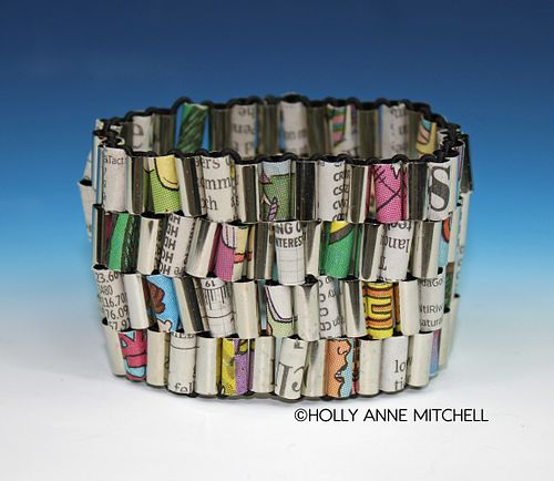 Recycled Newspaper Stock Listing and Comic Strip Bracelet