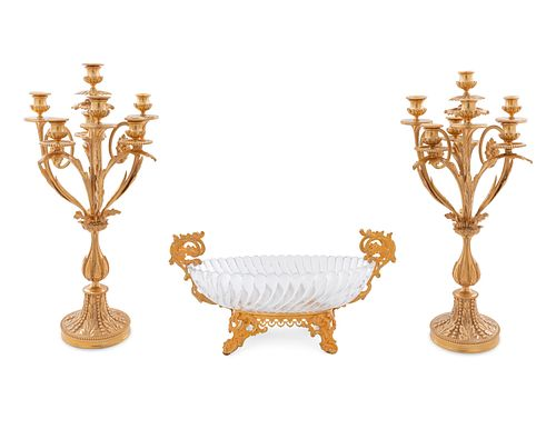A Louis XV Style Gilt Bronze and Glass Table Garniture