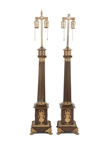 A Pair of Empire Gilt and Patinated Bronze Table Lamps