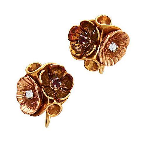 BICOLOR 14K GOLD, GEM-SET FLOWER EARRINGS