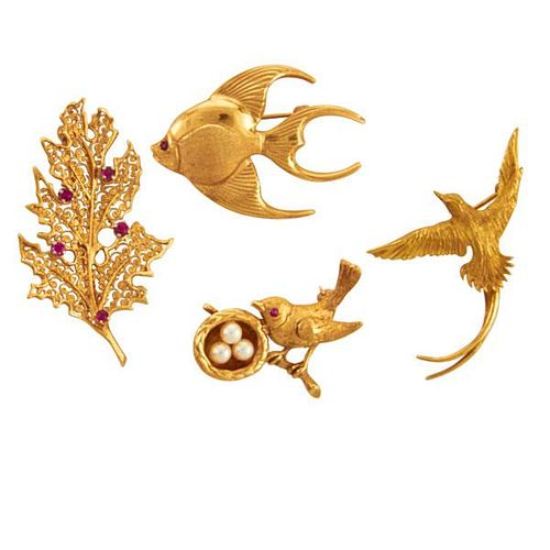 COLLECTION OF WHIMSICAL YELLOW GOLD BROOCHES