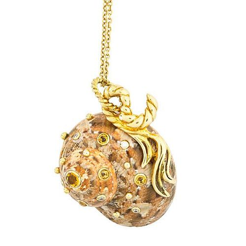JEWELED SHELL 18K GOLD NECKLACE AFTER SCHEPPES