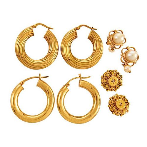 COLLECTION OF 14K YELLOW GOLD EARRINGS