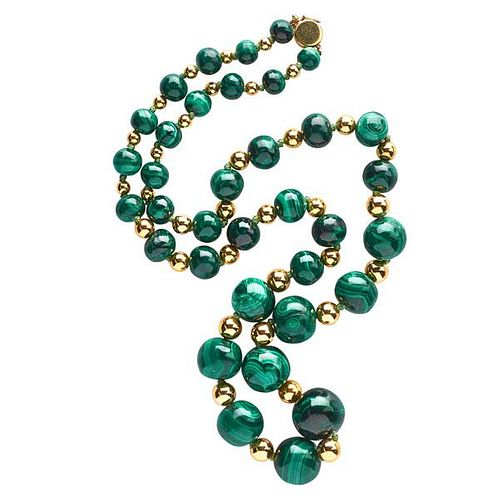 MALACHITE AND 14K YELLOW GOLD BEAD NECKLACE