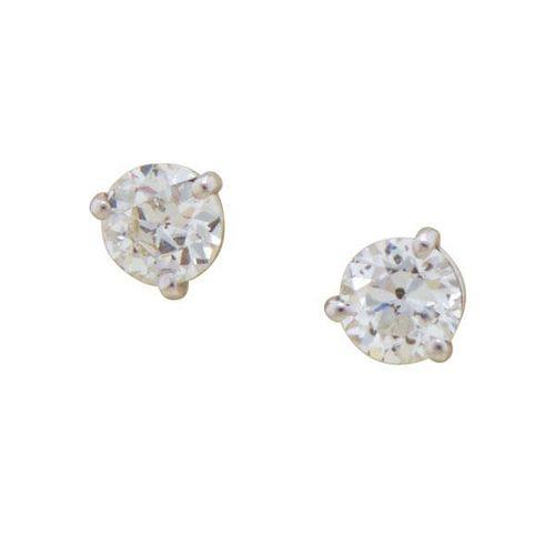 DIAMOND AND 14K WHITE GOLD STUD EARRINGS
