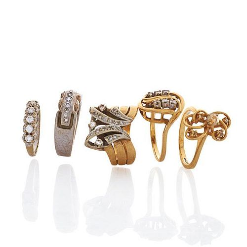 FIVE DIAMOND OR CZ AND GOLD OR PLATINUM RINGS